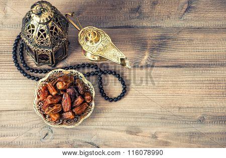 Ramadan Lamp, Rosary And Dates. Holidays Decoration