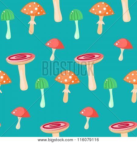 Spring Forest Russule Mushroom Seamless Pattern.