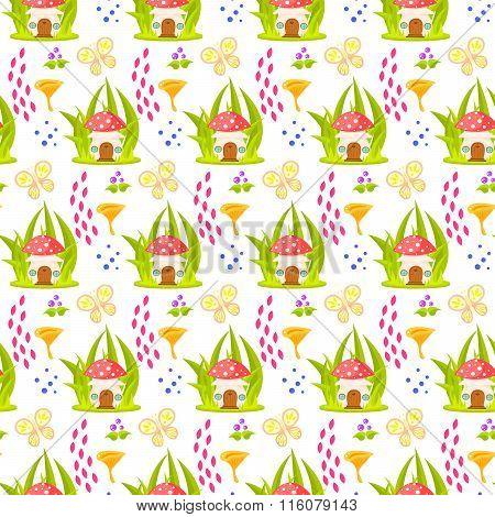 Spring Forest Mushroom Home Seamless Pattern.