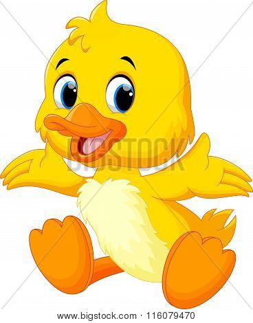 Cute baby duck lifted its wings