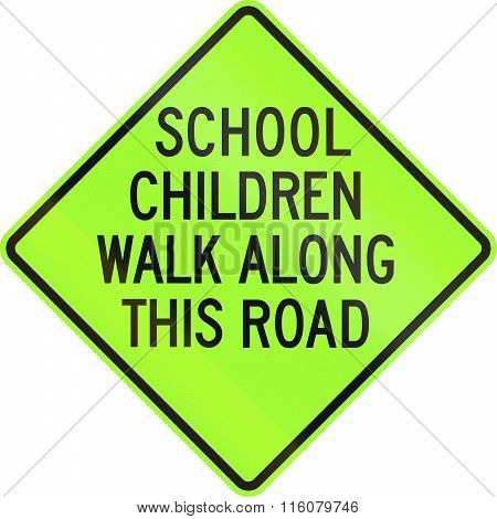 Road Sign Used In The Us State Of Delaware - School Zone Sign