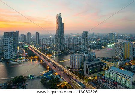 Urban Skyline At Chao Phraya River ,bangkok ,thailand
