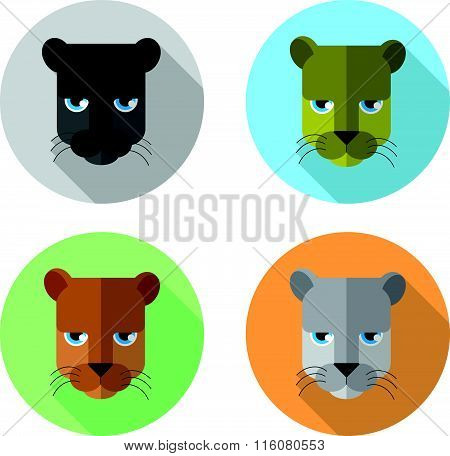 panther's head icon flat style