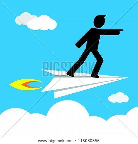 leader on paper plane
