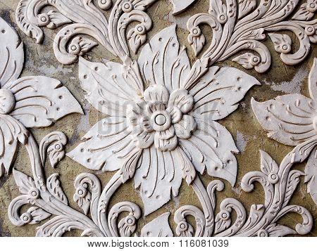 White Thai Art Stucco Wall In Thai Temple