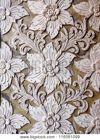 White thai art stucco wall