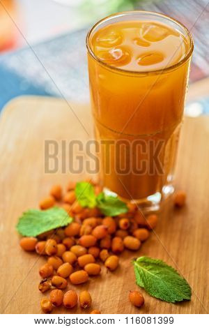 fruit non-alcoholic drink with sea buckthorn