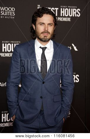 Casey Affleck at the World premiere of 'The Finest Hours' held at the TCL Chinese Theatre in Hollywood, USA on January 25, 2016.