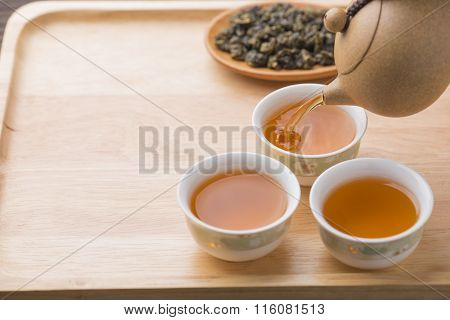Chinese tea set on wooden closeup