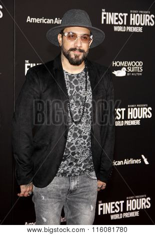 AJ McLean at the World premiere of 'The Finest Hours' held at the TCL Chinese Theatre in Hollywood, USA on January 25, 2016.