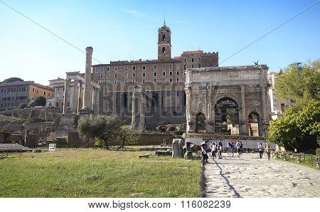 Tourists Visit Italy Via Fori Imperiali In Rome