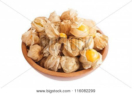 Cape Gooseberry (physalis) In Wooden Bowl Isolated On White Background