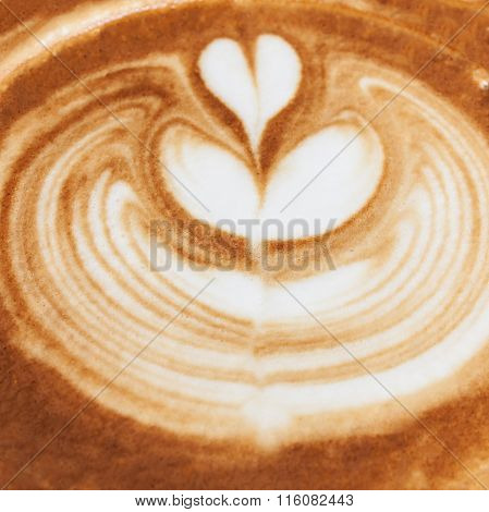 Closeup Of Coffee Latte Pattern, Time Already Been Enjoy Coffee