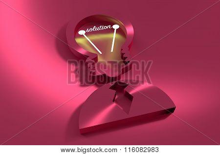 Lamp Head Businessman 3D Icon. Solution Text
