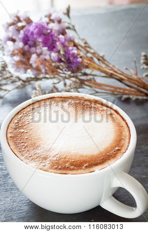 Coffee Cup With Beautiful Violet Flower