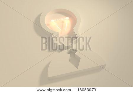Lamp Head Businessman 3D Icon. Creative Text