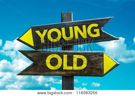 Young - Old signpost with sky background