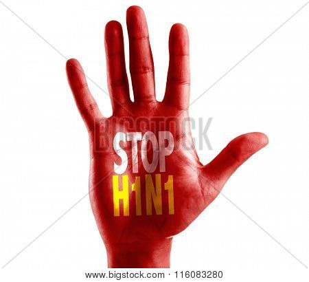 Stop H1N1 written on hand isolated on white background