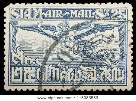 Thailand - Circa 1929: Old Stamp Features Of Garuda Has Spread Its Wings On Stamp 25 Satang Price. T