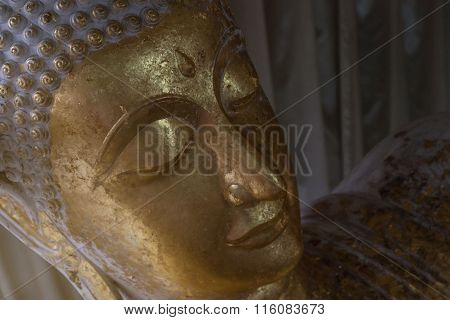 Head Of Gold Buddha Image In Wat Non Kum, Nakhonratchasima Province, Thailand, Public Domain