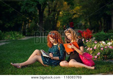 Girlfriends Sitting On Lawn In Park.
