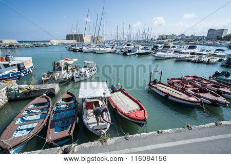 Boat dock of Heraklion port. Crete.