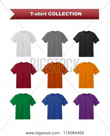 T-shirt template colorful set