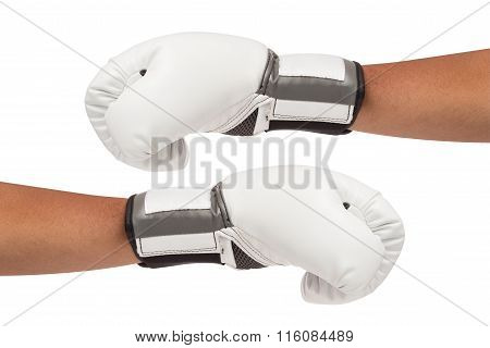 White Boxing Gloves On Hands Isolated And Include Path