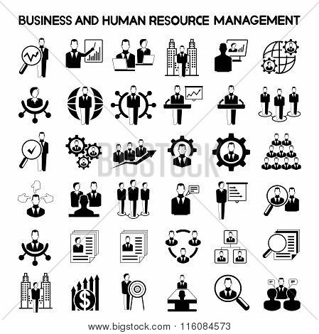 business and human resource management icons