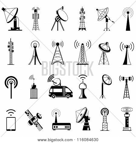 communication tower icons, satellite icons