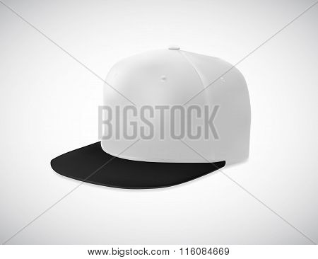 Rap cap with flat bill in perspective view