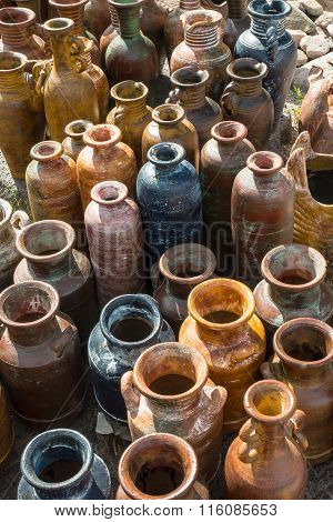 Traditional rustic Mexican clay pottery is produced near Guadalajara, MX.