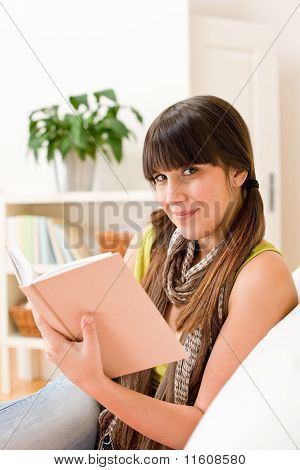 Teenager Girl Relax Home - Read Book