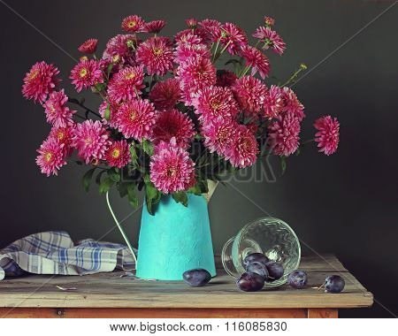 Still Life With Pink Chrysanthemums And Plums.