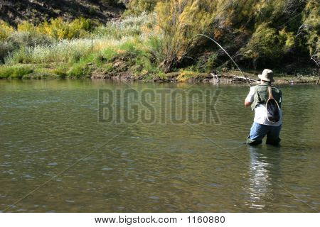 Fly Fishing In River