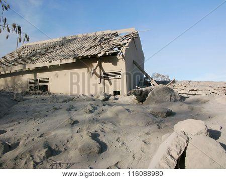 Volcanic ash destroys a village on Mount Merapi, Indonesia