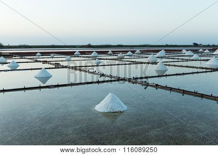 Salt Farm, salt pile in Tainan, Taiwan