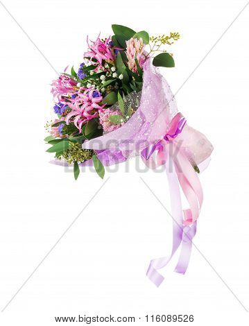 Bouquet Of Nerine, Hyacinth, Statice And Other Flowers.