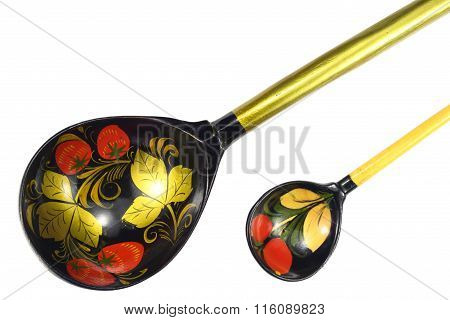 Old Wooden Spoon Of Handwork Isolated On The White Background