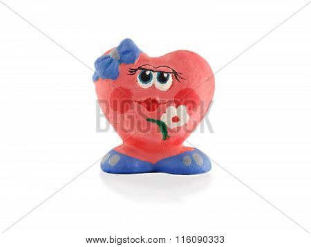 Unique Clay Handmade Figurine Heart Isolated On White