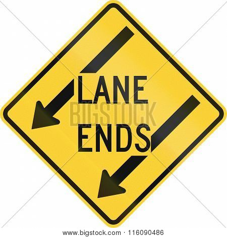 Road Sign Used In The Us State Of Delaware - Lane Ends Warning Sign