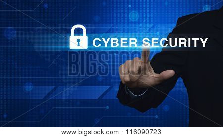 Businessman Pressing Security Text And Icon On Digital World Map Technology Style, Elements Of This