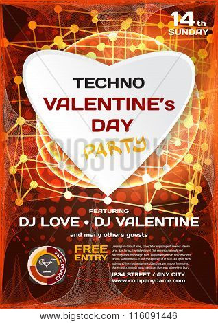 Vector Night Party Valentine's Day. Techno Template Poster Graph
