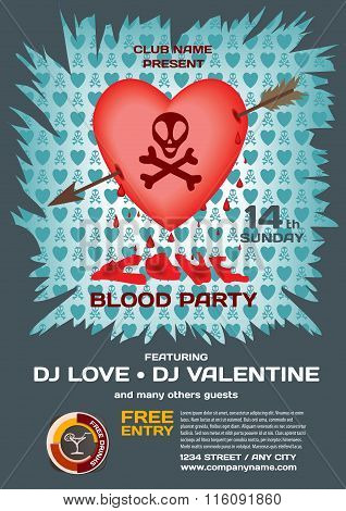 Vector Night Party Valentine's Day. Template Poster Graphic Hear