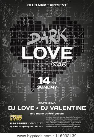 Vector Dark Night Party Valentines Day. Template Poster Graphic