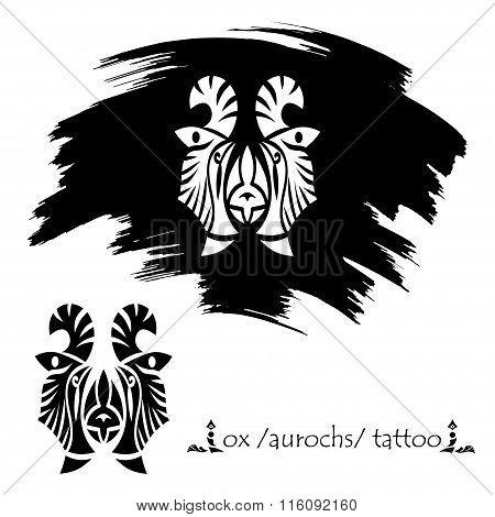 Stylized Decorative Bison Mask. Tattoo Silhouette