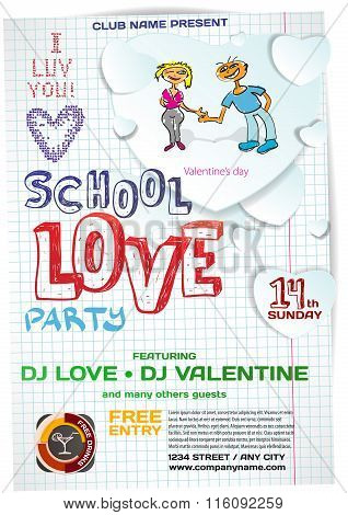 Vector School Night Party Valentine's Day. Template Poster Graph