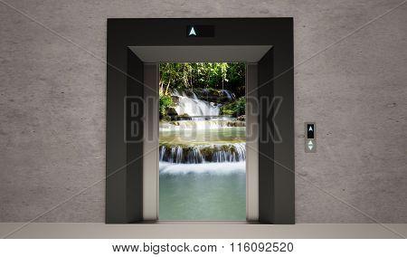 modern elevator open door with nature landscape
