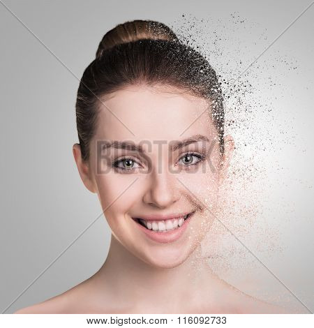 Woman face crushed