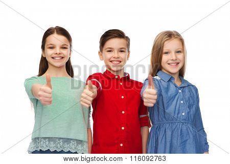 happy boy and girsl showing thumbs up
